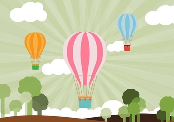 Flat Air Balloon Vector - Free vector #440557