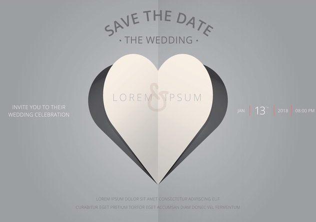 Save The Date, Wedding Invitation Template - Free vector #440577