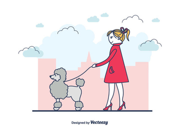 Girl And A Poodle Vector - Free vector #440697