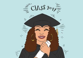 Hand Drawn Graduate Woman Character Vector - бесплатный vector #440717