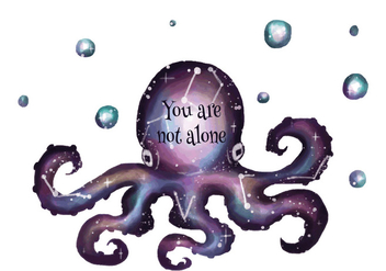 Galaxy Cosmos With Octopus Silhouette - Free vector #440727