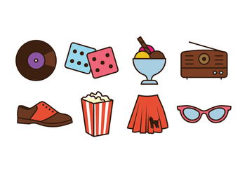 50s Things Icon Pack - Free vector #440737