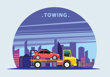 Towing Truck Service Vector Flat Illustration - Free vector #440767