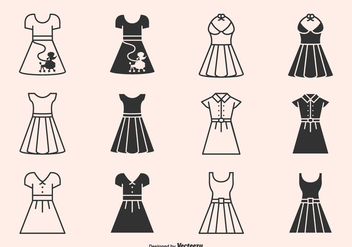 Retro 50s Dresses And Skirts Silhouette Vector Icons - Free vector #440817