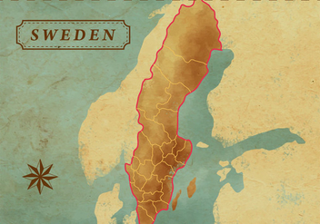 Vintage Sweden Map - vector #440827 gratis