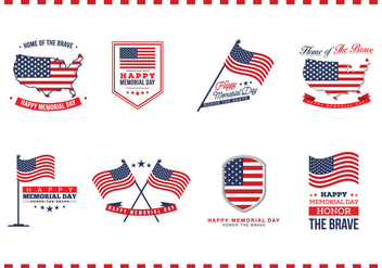 Memorial Day Badges Vector - бесплатный vector #440877