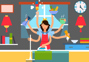 Woman In Multitasking Situation - Free vector #441027