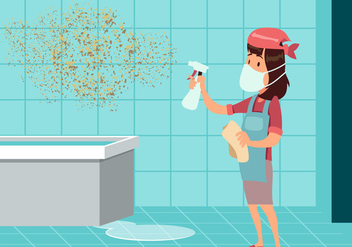 Woman Cleaning Mold Vector - vector gratuit #441037