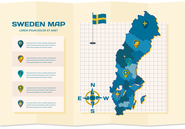Free Sweden Map Infographic - Free vector #441127