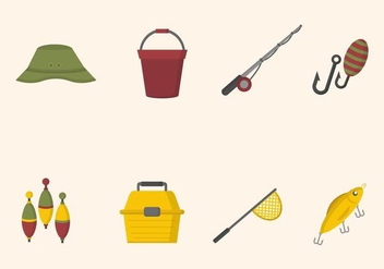 Flat Fishing Element Vectors - Free vector #441167