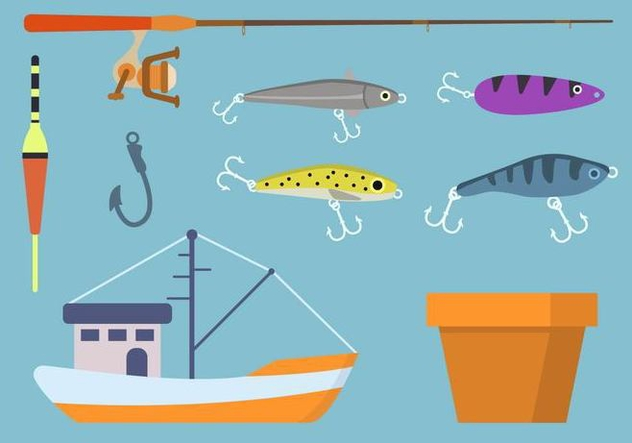 Flat Fishing Element Vectors - бесплатный vector #441177