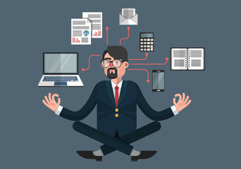 Person At Work Multitasking Vector Illustration - Free vector #441237