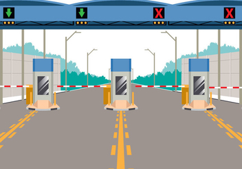 Toll Booth On Highway - vector gratuit #441347