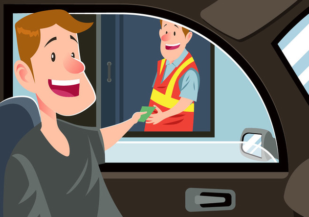 Man Paying Money At A Toll Booth Vector - Free vector #441357