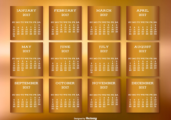 Golden 2017 Desktop Calendar - Free vector #441377