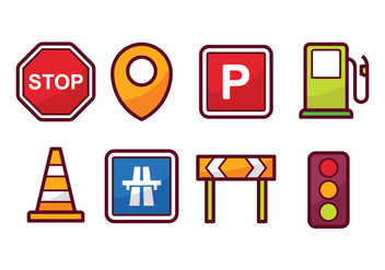 Traffic and Navigation Icon Set - vector #441457 gratis