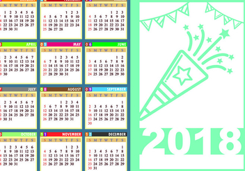Design Template Of Desk Calendar 2018 - vector #441527 gratis