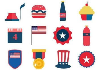 Free Independence Day 4th July Icons Vector - vector #441537 gratis