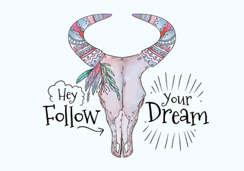Boho Purple Cow Skull With Painting And Motivational Quote - Free vector #441547