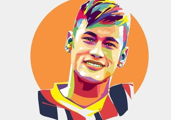 Neymar Soccer Player Vector Popart Portrait - Free vector #441677