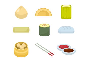 Asian Food and Dumplings Vector Collection - бесплатный vector #441817