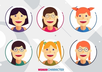 Woman Character Avatar Vectors - бесплатный vector #441827