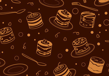 Outline Tiramisu Cake Pattern Free Vector - бесплатный vector #441877