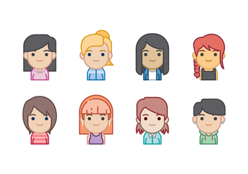 Free Woman Avatars Icon Set - Free vector #441907