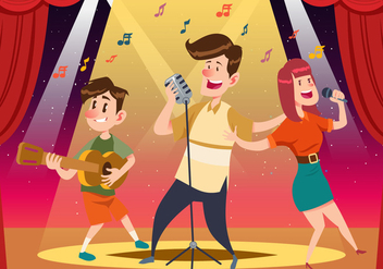 Cheerful People Singing - vector gratuit #441927