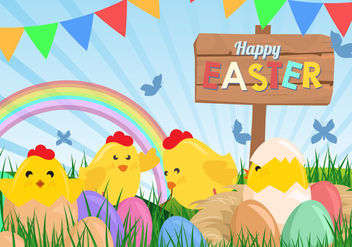 Cute Happy Easter Background - vector gratuit #441957