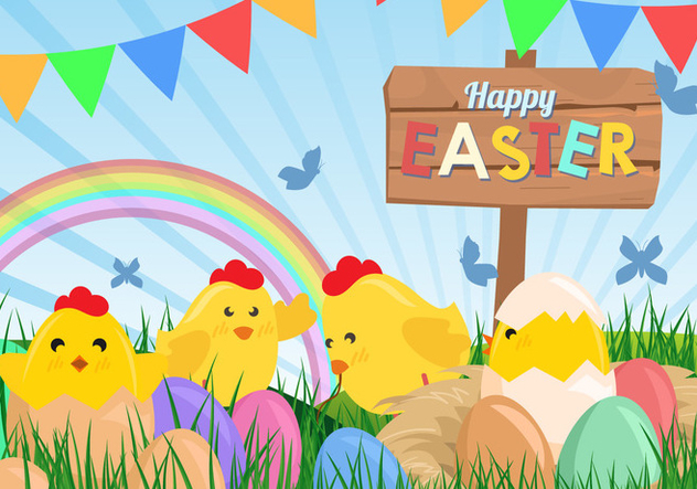 Cute Happy Easter Background - бесплатный vector #441957