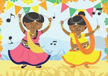 Garba Dancer Vector Illustration - vector gratuit #442007
