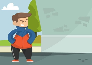 Guy in Windbreaker Illustration - Free vector #442057