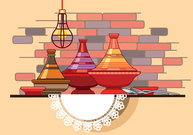 Moroccan Tajine Collection with Spoon and Fork in Front of Restaurant Wall - бесплатный vector #442277
