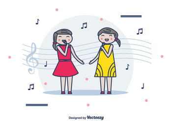 Girls Singing Vector Background - Free vector #442307