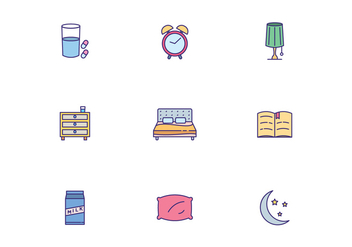 Colorful Sleeping Icons - Free vector #442347