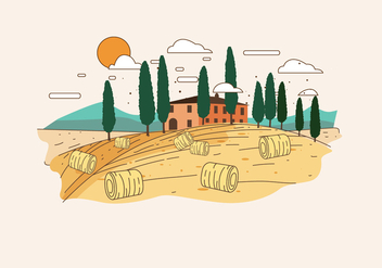 Tuscany Landscape Vector - Free vector #442357