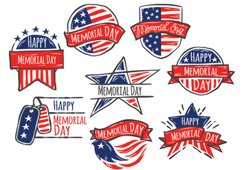 Happy Memorial Day of Hand Drawn Style Vector Set - Kostenloses vector #442387