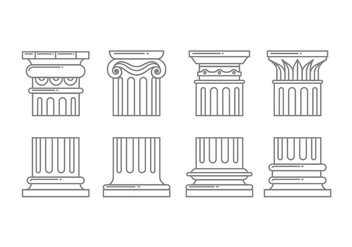 Roman column icons - vector gratuit #442407