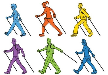 Nordic Walking vector illustration set - Kostenloses vector #442467