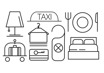 Linear Hotel Icons Set - vector gratuit #442607