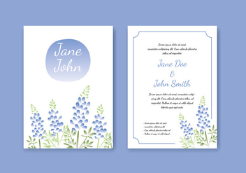 Blue Bonnet Water Color Effect Template Free Vector - Free vector #442717