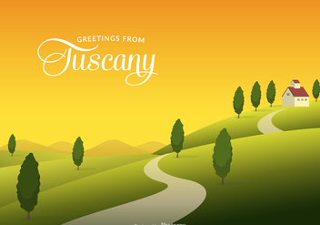 Tuscany Rural Landscape With Fields And Hills Vector - Free vector #442737