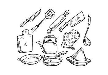Free Cooking Tools Hand Drawn Vector - vector #442767 gratis