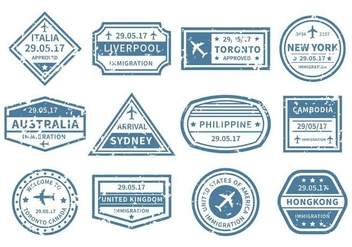 Free Travel Around World Stamp Vector - Kostenloses vector #442777
