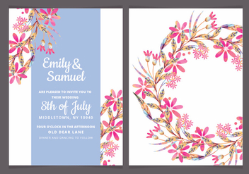 Vector Colorul Branches Wedding Invite - vector gratuit #442947