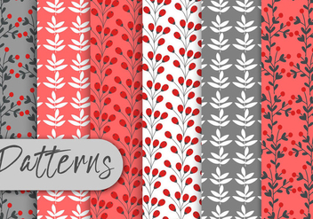 Red Berry Pattern Set - vector gratuit #442987