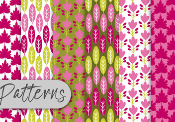 Colorful Leaf Pattern Set - Kostenloses vector #442997