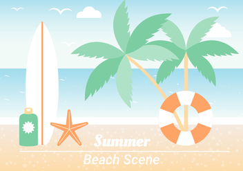 Free Summer Beach Elements Background - бесплатный vector #443117