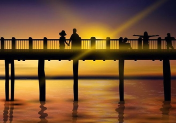 Beautiful Sunset Boardwalk - Free vector #443187